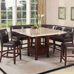 Acme Furniture - Britney 6 Piece Counter Height Dining Table set - 11280-83-84 - Set includes Counter Height Table, 3 Counter Height Loveseat and 2 Counter Height Chairs