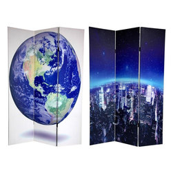 Oriental Furniture - 6 ft. Tall Double Sided Earth Room Divider - Embrace the beauty of our planet with these powerful, creative art photos of Mother Earth. On the front is a stylishly edited view of the New York skyline, emphasizing the curvature of the horizon, under a canopy of bright stars peering down through the troposphere. The image on the back is a topographically accurate 3-D rendering which depicts the deep blue oceans, tan mountain ranges, and silvery cloud formations of the western hemisphere, using images from NASA's Earth Observatory. These larger than life interior design elements will bring the splendor of the Blue Planet to life in your living room, bedroom, dining room, or kitchen. This three panel screen has different images on each side, as shown.