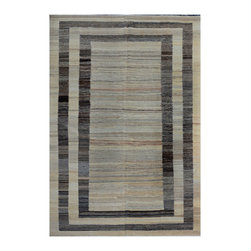 """ALRUG - Handmade Multi-colored Oriental Kilim  6' 8"""" x 9' 9"""" (ft) - This Afghan Kilim design rug is hand-knotted with Wool on Wool."""