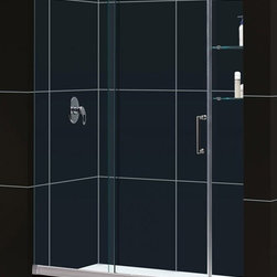 "DreamLine - DreamLine DL-6438L-01CL Mirage Shower Door & Base - DreamLine Mirage Frameless Sliding Shower Door and SlimLine 32"" by 60"" Single Threshold Shower Base Left Hand Drain"