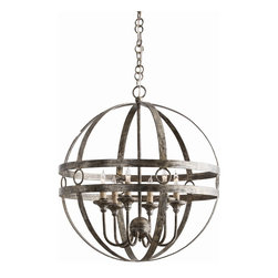 Arteriors - Arteriors Hollace Chandelier - This burnished silver iron orb houses 6 lights and makes the most of classic geometric elements: stripes and circles. We would love to see this in a hallway. Shown with clear bent tip bulbs. Additional chain CHN-984.
