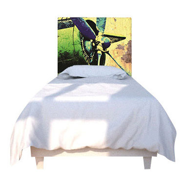 NOYO - Propeller Green Headboard, Twin - Stylish custom headboard with exchangable slipcover. Machine wash slipcover, wipe clean cedar wood frame. Easy assembly and installation, hardwarde included.