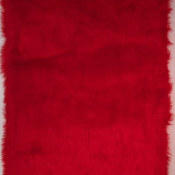 "Fun Rugs - Kids Flokati 2'7""x3'11"" Rectangle Red Area Rug - The Flokati area rug Collection offers an affordable assortment of Kids stylings. Flokati features a blend of natural Red color. Machine Made of 100% Polyester the Flokati Collection is an intriguing compliment to any decor."