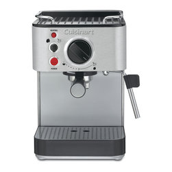 Cuisinart - Cuisinart EM-100 Stainless Steel 15-Bar Espresso Maker - This stainless steel espresso maker from Cuisinart features 15 bars of pressure for the perfect coffee drinks. The steam nozzle and frothing cup allow you to whip up a hot cappuccino or latte in no time.