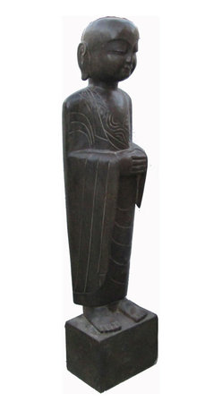Golden Lotus - Black Solid Stone Chinese Standing Hand Carving Monk Statue - This is a Chinese antique standing monk which is made of solid black stone.  Especially, its body comes with very detail carving on it.  It should be a gorgeous garden statue.
