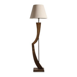 ParrotUncle - Modern Style Wooden Bow Handmade Floor Lamp - This artistic floor lamp is in an irregular shape in wood. It is a bow or harp? Would you like to take it beside your sofa or near your bed? This fashion lamp will decorate your room in modern style.