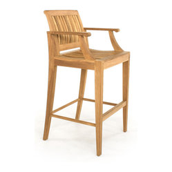 Westminster Teak Furniture - Laguna Teak Barstool - Here's a bar stool that will give you a leg up. Expertly crafted with an arched back and curved arms, it also has a footrest for ultimate comfort. And, you'll feel good knowing that it's made of premium teak from renewable plantations, so it's ecofriendly, too.