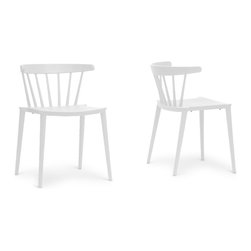 "Baxton Studio - Baxton Studio Finchum White Plastic Stackable Modern Dining Chair (Set of 2) - A classic form made modern with vivid white, our Finchum Designer Dining Chair is an unexpected pop of style for a any dining room. Taking its inspiration from dowel-slatted chairs, this updated version is made instead with molded plastic. The Finchum Chair is made in China and features non-marking feet to protect sensitive flooring from scratches. This design is fully assembled and is stackable. To clean, wipe with a damp cloth. The Finchum Chair is also available in red or orange (each sold separately). 19.75""W x 20.5""D x 28.5""H,  , seat dimension:17.875""W x 17.875""D x 15.75""H"