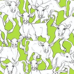 Iltavilli from Marimekko - Acid Green. Marimekko. Wallpaper. Cows. Enough Said!