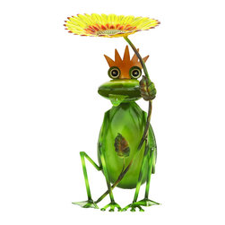 Benzara - Outdoor Decor Sunflower King Garden Frog - This tin alloy sculpture of an ambitious young frog ready to take reign as the sunflower king, is perfect statue for your garden. Made with bright green tin alloy for the adorable thing, this amphibian is the perfect little helper to watch over your backyard. Enjoy watching your frog at the very edge of the garden or next to a pond of water.