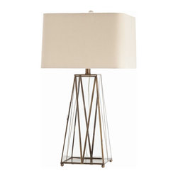 Arteriors - Edmond Lamp - If you love the look of antiques but can't find the time to go hunting for gems, this antique brass and glass lamp is for you. The grid pattern creates a decorative box where you could display treasures, or leave it empty for a simple and elegant look. A rectangular linen shade completes the polished look.