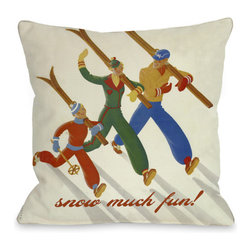 None - Snow Much Fun Vintage Ski Throw Pillow - Add a great conversation piece with bright and fun throw pillows that will surely liven up any space!
