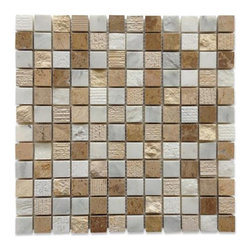 "GlassTileStore - Esker Navajo Sand Squares Marble Tile - Esker Navajo Sand Squares Marble Tile             This marble mosaic will provide endless design possibilities from contemporary to classic. It creates a great focal point to suit a variety of settings. The mesh backing not only simplifies installation, it also allows the tiles to be separated which adds to their design flexibility. Natural stones are products of nature, therefore, variations in color, pattern, texture, and veining will occur.         Chip Size: 1""x 1""   Color: Lagos Beige, Asian Statuary and Ivory Travertine   Material: Marble   Finish: Honed and Chiseled    Sold by the Sheet - each sheet measures 12"" x 12"" (1 sq. ft.)   Thickness: 10mm   Please note each lot will vary from the next.            - Glass Tile -"