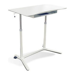 Jesper Office Furniture - 204 Series Lift Table in White with White Base - Features: