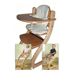 Primo - Cozy Tot To Teen High Chair - PRIMO announces the arrival of the eco-friendly Cozy Tot To Teen Chair - a wooden booster/high chair that adjusts in seat and footrest heights to accommodate any child who can sit up unassisted from 6 months to a teen (up to 150 lbs). Design and woodworking craftsmanship is at its best with this wooden booster chair! This Wooden Booster/High Chair will be used for many years throughout a child's developmental stages enhancing its long-term investment. Now your child can be at a comfortable Eating Height at the Kitchen Table, with or without the removable tray. As your child grows, you should check your child's elbow and leg positioning and adjust the seat and footrest into side base slots to the appropriate heights as needed at least every 6 months. Features: -Wooden booster / high chair.-Removable wooden tray.-Waist restraint system bar and leather crotch strap.-5 Point harness.-Adjustable seat and footrest height.-Child able to sit safely without adult assistance.-Structurally cold molded.-Cushion not included.-Seat and footrest slides into base slots to adjust to the appropriate heights as needed for child.-Removable tray.-Ages 6 months to teen (up to 150 lbs) (Child should be able to sit up unassisted).-Birch wood assembles easily with all necessary tools included.-Distressed: No.Dimensions: -Overall Product Weight: 16 lbs.