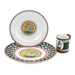 Artistica - Hand Made in Italy - PALIO DI SIENA: OCA (Goose) Place setting pre-pack: Charger+Dinner+Mug - The ''Palio di Siena'' is a tournament as a replica of a medieval horse race which is ran twice year, during the summer season, in the city of Siena, located in the beautiful Tuscany region.