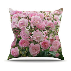 """KESS InHouse - Sylvia Cook """"The Fairy Rose"""" Pink Floral Throw Pillow, Outdoor, 16""""x16"""" - Decorate your backyard, patio or even take it on a picnic with the Kess Inhouse outdoor throw pillow! Complete your backyard by adding unique artwork, patterns, illustrations and colors! Be the envy of your neighbors and friends with this long lasting outdoor artistic and innovative pillow. These pillows are printed on both sides for added pizzazz!"""