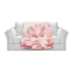 DiaNoche Designs - Throw Blanket Fleece - Peony - Original Artwork printed to an ultra soft fleece Blanket for a unique look and feel of your living room couch or bedroom space.  DiaNoche Designs uses images from artists all over the world to create Illuminated art, Canvas Art, Sheets, Pillows, Duvets, Blankets and many other items that you can print to.  Every purchase supports an artist!