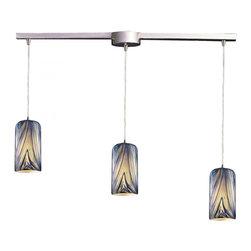 Joshua Marshal - Three Light Satin Nickel Molten Ocean Glass Multi Light Pendant - Three Light Satin Nickel Molten Ocean Glass Multi Light Pendant