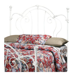 Hillsdale - Hillsdale Cherie Metal Headboard in White Finish-Full/Queen - Hillsdale - Headboards - 381490 - The Cheri Headboard beautifully combines Victorian styling with modern functionality. Enchanting in its ornate scrollwork and fresh white finish this headboard showcases intricate castings and finials upon sturdy heavy-gauge construction for a comfort and appearance that will endure.