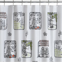 robot toile shower curtain - back to the future. Artist Verity Freeburn transforms traditional toile in an ironic collision of future/provincial. Illustrated graphic grey/white with punches of green/orange, hi-tech robots roam lo-tech through pastoral scenes—strolling hand in hand, playing the flute, walking the dog and fishing. Learn about the designer, Verity Freeburn,  on our blog.- 100% EVA vinyl (PVC-free)- Metal grommets- Wipe clean with damp cloth- Made in China