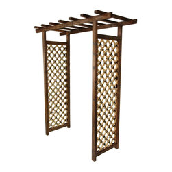 Oriental Furniture - Japanese Bamboo Garden Gate Trellis - Elegant wooden Japanese garden gate with bleached bamboo wood trellises. Kiln-dried wood frame stained a dark walnut with visible wood grain. Criss-cross bamboo lattices on both sides feature decorative black ties at each cross. Wooden cross-beams overhead for decor or more crawling plants and vines. Trellis arch combines the best of Oriental design and nature for a beautiful garden entrance.