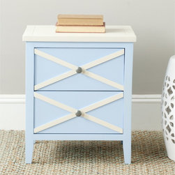 Safavieh - Safavieh Sherrilyn Light Blue/ White 2-drawer Side Table - The classic style of the Sherrilyn 2-drawer side table gets updated in a fresh light blue finish with charming contrasting white top and x-details on the drawers.