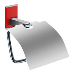 Gedy - Chromed Brass Covered Toilet Roll Holder With Red Mounting - Decorative toilet paper holder with cover made of brass in a chrome finish. Mounting made of thermoplastic resins in a red color. Toilet roll holder with cover made of chromed brass and thermoplastic resins. Mounting in red finish. From the Gedy Maine collection.