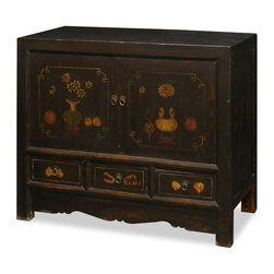 China Furniture and Arts - Elmwood Mandarin Cabinet - With understated elegance, this Elmwood cabinet features hand-painted flowers motif on its doors and drawers. A removable shelf behind the double door compartment and three drawers for your storage convenience. Distressed dark brown wood finish. It is perfect used as a vanity cabinet or media cabinet (cable outlets can be made upon request). Fully assembled.