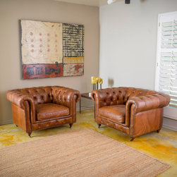 Christopher Knight Home - Christopher Knight Home Chesterfield Tufted Leather Armchair (Set of 2) - These armchairs are made with top grain leather and show craftsmanship and attention to detailing with their elaborately tufted wrap-around back and antique studded detailing at the base.