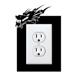 StickONmania - Outlet Dragon Sticker - a vinyl decal sticker to decorate a wall outlet.  Decorate your home with original vinyl decals made to order in our shop located in the USA. We only use the best equipment and materials to guarantee the everlasting quality of each vinyl sticker. Our original wall art design stickers are easy to apply on most flat surfaces, including slightly textured walls, windows, mirrors, or any smooth surface. Some wall decals may come in multiple pieces due to the size of the design, different sizes of most of our vinyl stickers are available, please message us for a quote. Interior wall decor stickers come with a MATTE finish that is easier to remove from painted surfaces but Exterior stickers for cars,  bathrooms and refrigerators come with a stickier GLOSSY finish that can also be used for exterior purposes. We DO NOT recommend using glossy finish stickers on walls. All of our Vinyl wall decals are removable but not re-positionable, simply peel and stick, no glue or chemicals needed. Our decals always come with instructions and if you order from Houzz we will always add a small thank you gift.