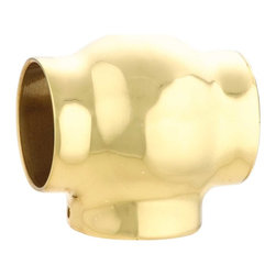 """Renovators Supply - Bar Hardware Polished Solid Brass Fit 2"""" Tube T Connector - Elbows & Connectors: Create a stylish railing system with our wide selection of elbows & connectors. This T -connector provides a BALL mount look to your brass railing. Made of 100% solid brass this connector has a tarnish-resistant powder coated RSF finish which is maintenance-FREE & protects up to 20 times longer than regular lacquers."""