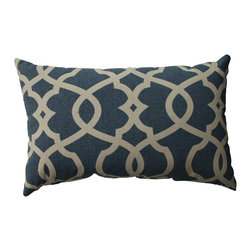 Pillow Perfect - Pillow Perfect Lattice Damask Blue Rectangular Throw Pillow - This damask decorative throw pillow is an easy way to upgrade your furniture. It comes in a deep blue color with beige accents that will look great on a sofa or chair. The soft cotton cover is durable enough to look great through many years of use.