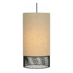 """LBL Lighting - LBL Lighting Hollywood Beach Long Pendant light - The Hollywood Beach Long Pendant light has been designed and made by LBL lighting. This pendant light is designed with a modern round fabric shade in a tan color with intricate hand-crafted wire detail around the base of the pendant. This fixture is attached to bronze canopy. This fixture comes with either an incandescent 1 x E26 medium base 75W or equivalent A19 lamp or the fluorescent includes 1 x GX24Q-3 base 26W triple tube CFL. cETL LISTED.         Product Details: The Hollywood Beach Long Pendant light has been designed and made by LBL lighting. This pendant light is designed with a modern round fabric shade in a tan color with intricate hand-crafted wire detail around the base of the pendant. This fixture is attached to bronze canopy. This fixture comes with either an incandescent 1 x E26 medium base 75W or equivalent A19 lamp or the fluorescent includes 1 x GX24Q-3 base 26W triple tube CFL. cETL LISTED. Details:                         Manufacturer:            LBL Lighting                            Designer:            LBL Lighting                            Made in:            USA                            Dimensions:            Height: 14"""" (35.5 cm) X Diameter: 7"""" (17.8 cm)                            Light bulb:            incandescent 1 x E26 medium base 75W or equivalent A19 lamp or the fluorescent includes 1 x GX24Q-3 base 26W triple tube CFL                            Material:            metal, glass"""
