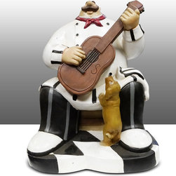 Fat Chef Kitchen Statue Playing Guitar Table Art Decor - Beautiful Kitchen Counter Table Top Art Decoration fo Bistro Cook or Restaurant.