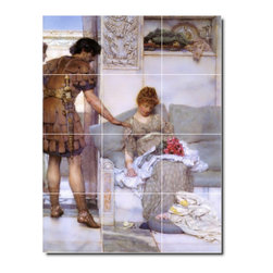 Picture-Tiles, LLC - A Silent Greeting2 Tile Mural By Lawrence Alma-Tadema - * MURAL SIZE: 17x12.75 inch tile mural using (12) 4.25x4.25 ceramic tiles-satin finish.