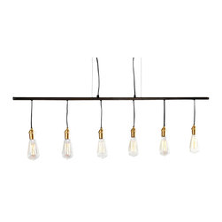 Beam Chandelier - Inspired by the simpler designs of the turn-of-the-century, the Beam Chandelier features striking brass fittings that add a certain charm to the fixture, as well as, cloth covered cords. Perfectly suitable for a styled space that boasts contemporary/minimalistic flair or fitting for a charming rustic interior, this is a light that is as timeless as it is illuminating.