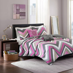 Intelligent Design - Intelligent Design Elise Coverlet Set - The Intelligent Design Elise Collection provides a modern update for the stylish customer. Its updated chevron design uses two shades of fuschia along with a pop of taupe and grey to update your space instantly. Two decorative pillows use embroidery in corresponding colors to showcase the chevron and a large medallion design. Coverlet/Sham: 100% polyester peach skin printed fabric Filling: 200g cotton fill Pillow: poly cover and poly fill