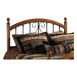 Hillsdale Furniture - Hillsdale Burton Way Poster Headboard with Rails - King - The Burton Way bed elevates the traditional wood and metal bed to a new level. Instead of featuring just the common wood post, the Burton Way bed features a slender cherry post with elongated oval finials, and then carries the wood accent along the top and bottom of the metal grills creating continuity and strength in this design concept. Framed by these wood borders, the metal grills feature a lovely traditional scrolled design and an always versatile and durable textured black powder coat finish.