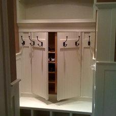design ideas for new house / Hidden shoe rack storage behind coat rack. Great id