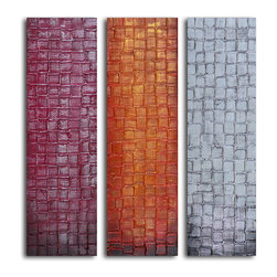 """My Art Outlet - Trio Of Textured Panels Hand Painted Canvas Wall Art - Size: 36"""" x 40"""" (12"""" x 40"""" x 3pc). Enjoy a 100% Hand Painted Wall Art made with oil and acrylic paints on canvas stretched over a 1"""" thick inner wooden frame. The painting is gallery wrapped and ready to hang out of the box. A very stylish addition to any room that is sure to get the attention of guests."""