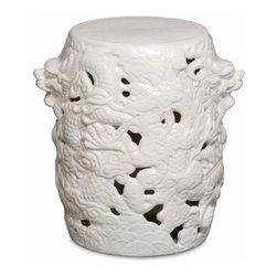 """The Ivory Company - Festive Dragon Garden Stool  White - Bring Eastern charm, balance and serenity into your home or garden.Our intricately designed garden stool comes alive with swirling waves, clouds and scaley serpents winding around the stool - a highly detailed dragon head emerges at each side. Can be used indoors and out as a casual seat, or side table. Sturdy ceramic design. White. Ceramic with a high-gloss finish.These traditional inspired designs of an oriental staple make for handsome and distinctive accent pieces for the home. Enjoy these in and out of the house - in a formal living area, garden or in a vestibule. The sturdy functionality is only second to the aesthetic appeal of their timeless shape and style. Each Garden Stool design has been carefully hand-picked for its distinctive styling and its overall aesthetics.This is guaranteed to add beauty, style and add some practical functionality to any area of your home. Measures 12x15""""H"""