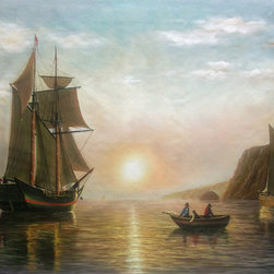 """overstockArt.com - A Sunset Calm in the Bay of Fundy - William Bradford - 30"""" X 40"""" Oil Painting On Canvas A Sunset Calm in the Bay of Fundy was originally painted in 1860 by William Bradford. Today it is recreated with exceptional use of color and detailed brush strokes. This painting has an awe inspiring scene with majestic full sailed ships and brightly peaked sun on its horizon. This hand painted masterpiece will add beauty to any room in your home."""