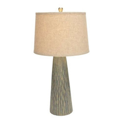 """BZBZ97319 - Decorative Modern Table Lamp with Vertical Engravings - Decorative Modern Table Lamp with Vertical Engravings. Add another dimension to your bedroom with this ceramic lamp. It comes with the following dimensions: 9"""" W x 6"""" D x 30"""" H."""