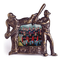 "Danya B. - Cast Iron Baseball Photo Frame 3.5x3.5"" - Preserve your favorite memories of out on the court in this fitting baseball-themed cast iron photo frame. Elegantly finished in a gold patina, this frame will stand triumphantly on your mantle or in your team player's bedroom."