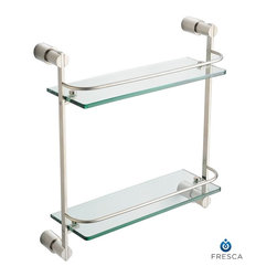 """Fresca - Fresca Magnifico 2 Tier Glass Shelf - Brushed Nickel - Create additional space in your bathroom with a wall-mounted Fresca Magnifico 2-Tier Glass Shelf, part FAC0146BN. It's ideal for storing bathroom items in a shower or above a bathtub, or for displaying decorative items. The thick bathroom glass shelves are securely attached to the sides, and the mounting hardware is easy to use. Raised chrome rails add a decorative touch, and all non-glass components are forged from solid brass. Your brass glass shelf measures D 5"""" x H 15 3/4"""" x W 15""""."""