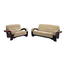Global Furniture USA - U992 Beige Fabric & Black Vinyl Three Piece Sofa Set With Wood Accents - The U992 sofa set will add a stylish modern look to any decor it's placed in. This sofa set comes upholstered in a beautiful beige champion fabric on the seating area. The fabric is very plush and soft to the touch. On the back and sides the sofa set is upholstered in a black vinyl material. High density foam is placed within the cushions for added comfort. Each piece features wood trim accents that run along the edges of the arms with a mahogany finish. The price shown includes a sofa, loveseat, and chair only.