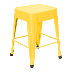 Felix | Tolix Style Table Stool - Lightly Distressed Yellow - This classic cafe stool originally designed by Xavier Pauchard in 1934 has been a staple in French bistros and trendy hotspots throughout the 20th century. The Felix is our spin on the classic Tolix stool. Slight abrasions and variations are characteristic of the chair's industrial aesthetic. Our gunmetal stools or stools labeled as distressed are hand finished and antiqued to create a unique industrial look. Only galvanized finish is suitable for outside use. Available in an array of colors and finishes, mix and match to create a unique setting (some colors are available through special order only). Contact Us for quantity orders.