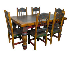 Mexican Country Style Painted Wood Dining Set - This 7-piece or 9-piece Mexican painted wood dining set will enrich any southwest or rustic decor with its colorful antique look. The large and sturdy turned legs give this rustic dining table its classic country style. Free shipping in the continental US.