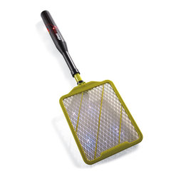 """Frontgate - Dynazap Flying Insect Zapper - Portable, hand-held insect eliminator. Kills mosquitoes, wasps, hornets, fruit flies and more on contact. Environmentally safe. Extends up to 3 ft.. Bends 90&deg for high walls and ceilings. Replace your old fly swatter with the Dynazap Flying Insect Zapper. Fully extendable and bendable, the Dynazap kills mosquitoes, wasps, flies, hornets, yellow jackets, and other annoying insects on contact. The hand-held zapper telescopes to eliminate insects on the ceiling and other hard-to-reach areas, and its portability makes it ideal for camping and outdoor activities.  . . .  . . Safety switch only operates when button is pushed """"on"""". Two AA batteries included."""